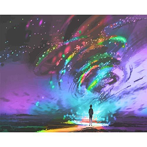 Bhgfdlbf Pintar por números, DIY Pintura Al Óleo para Adultos Niños con Pinceles y Pinturas,Decoraciones para El Hogar-Sinfonía Cielo Estrellado 40 X 50 Cm Sin Marco