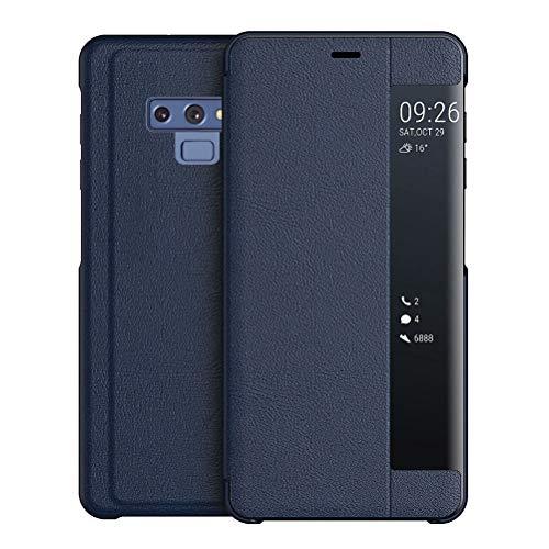 Capa para Galaxy Note 9, YINCANG com design de janela de visualização em couro sintético com fecho magnético, capa inteligente protetora para Samsung Galaxy Note 9 de 6,5 polegadas – Azul escuro