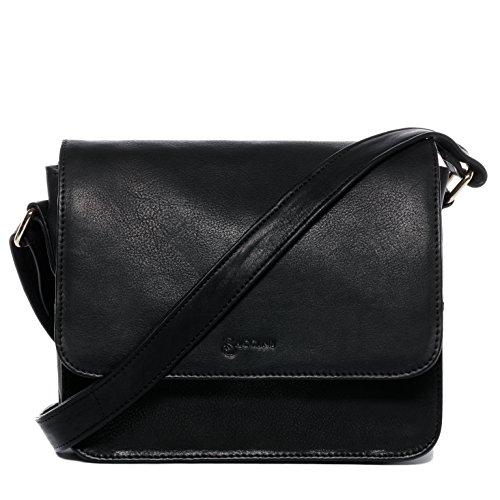 BACCINI Schultertasche echt Leder ELA Handtasche Schultergurt Umhängetasche Ledertasche Damen schwarz