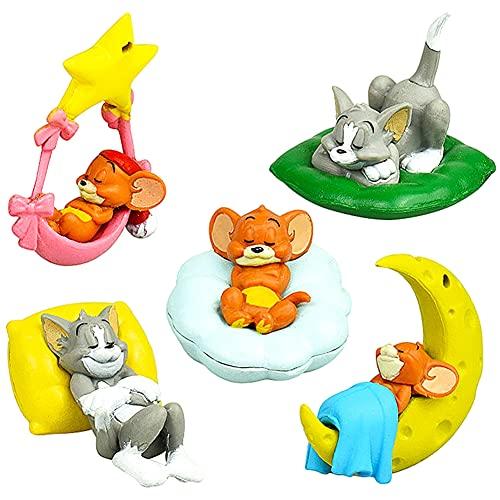 OYSJ Tom And Jerry Cake Topper Mini Figurine,Simpatico Tom And Jerry Q Versione,Torta per Feste Forniture Giocattoli Figure da Collezione,Decorazione della Torta della Festa di Compleanno - 5 Pezzi