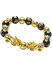 Feng Shui 12mm Black Obsidian/Mantra Bead Bracelet with Double Golden Pi Xiu/Pi Yao and Copper Coins Bead Lucky Wealthy Amulet Brecelet
