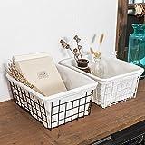 YSJJBTS Cesta Tejida Caja de Almacenamiento de Alimentos de Hierro Fruit Dries Book Storage Cesta Durable for el gabinete de la Cocina Despensa Cuarto de baño Cuarto de lavandería Armarios Garaje