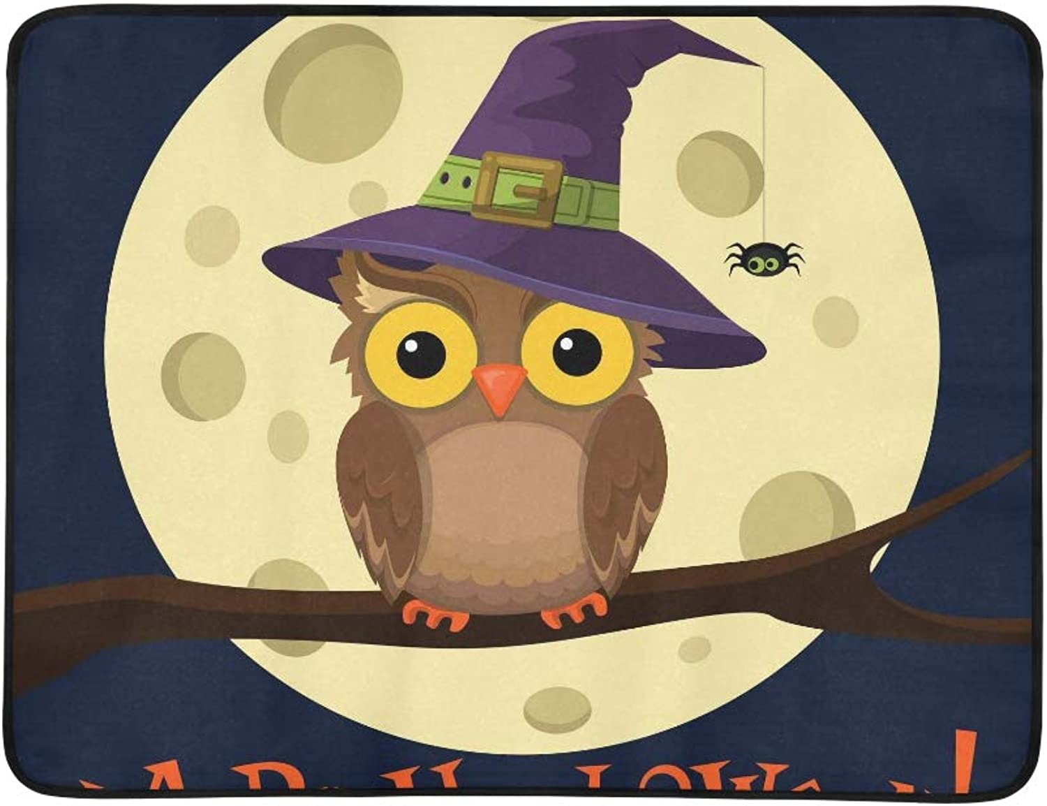 Cartoon Owl in Hat On Moon Background with Little Pattern Portable and Foldable Blanket Mat 60x78 Inch Handy Mat for Camping Picnic Beach Indoor Outdoor Travel
