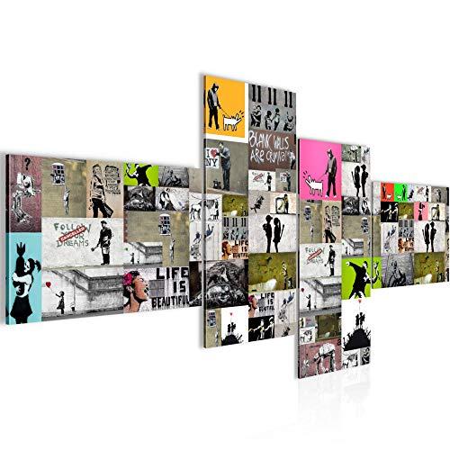 Bilder Collage Banksy Street Art Wandbild 200 x 100 cm Vlies - Leinwand Bild XXL Format Wandbilder Wohnzimmer Wohnung Deko Kunstdrucke Bunt 4 Teilig - MADE IN GERMANY - Fertig zum Aufhängen 302741a