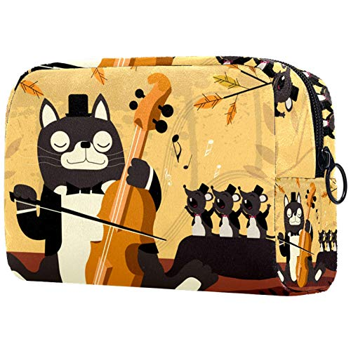 Girl Cosmetic Bags Women Makeup Bag Toiletry Organizer Pouch with Zipper 7.3x3x5.1 Inch Music Funny Cat Play The Violin