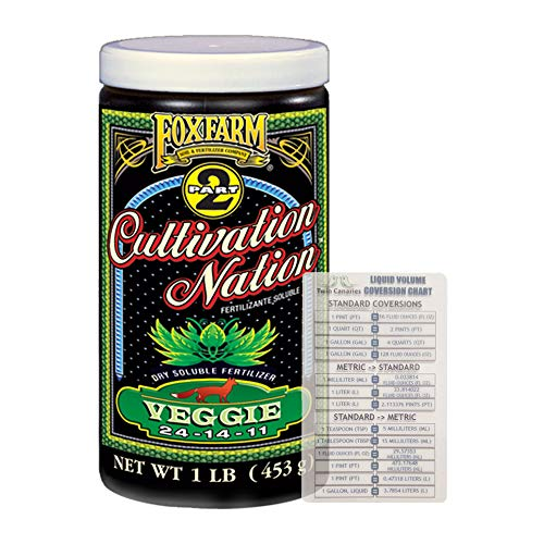 FoxFarm Cultivation Nation Veggie 1lb | Soluble Fertilizer for Vegetation | 1lb Canister + Twin Canaries Chart
