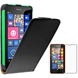 ebestStar - kompatibel mit Nokia Lumia 630 Hülle PU Kunstleder Etui mit Klappe, Handyhülle Schutzhülle Hülle Cover, Schwarz + Panzerglas Schutzfolie [Lumia 630: 129.5 x 66.7 x 9.2mm, 4.5'']