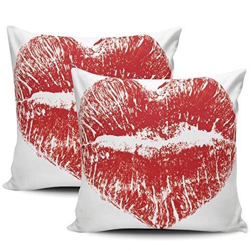 Lips Kiss Heart Fundas De Almohada Exquisito Fundas Cojín Durable Funda De Almohada para Cojín para Coche Cámping Cama Juego De 2, 40x40 cm