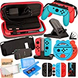 EOVOLA Accessories Kit for Nintendo Switch Games Bundle Wheel Grip Caps Carrying Case Screen Protector Controller