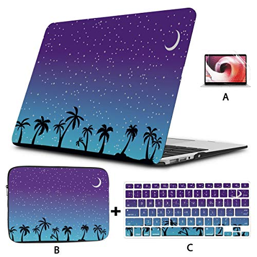 Case MacBook Pro 13 Tropical Palm Trees Silhouette Summer Night Laptop Pro Accessories Hard Shell Mac Air 11'/13' Pro 13'/15'/16' with Notebook Sleeve Bag for MacBook 2008-2020 Version