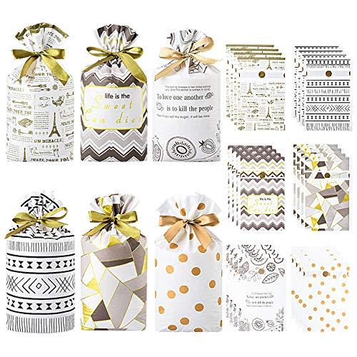 Pajaver 30 Stück Klein Geschenktüten mit Kordelzug Süße Kunststoff Geschenkbeutel für Geburtstag Hochzeit Valentinstag Weihnachten