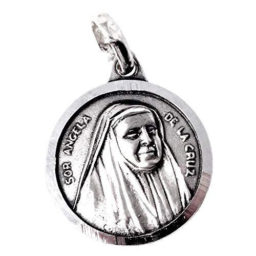 Silbermedaille Anhänger aus massivem 17mm 925m Act. Schwester Angela de la Cruz hinteren Zaun glatt Glanz - Anpassbare - AUFNAHME IN PREIS ENTHALTEN