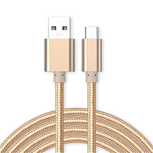 Kit Me Out Datenkabel für LG G7 Fit [3M] USB C Typ C Kabel [USB 3.0] Schnelles Aufladen & Synchronisation [3.1 Amp Schnellladekabel] Nylon Ladekabel - Gold