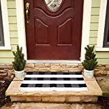 Buffalo Plaid Rug - Black and White Check Door Mat Outdoor - Farmhouse Rugs for Kitchen/Bathroom/Front Porch/Decor - Layered Welcome Doormats - Checkered Flannel Cotton Entry Way Layering Mats