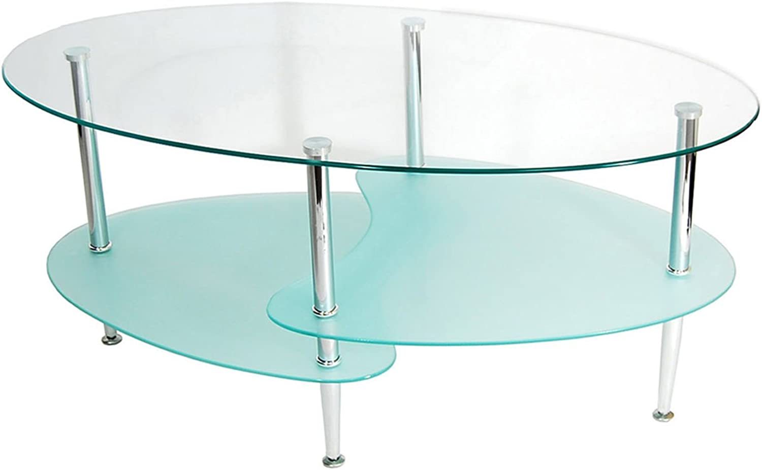 Offex C38B4 Glass Oval Living Room Metal Coffee Table in Frosted Finish - Silver