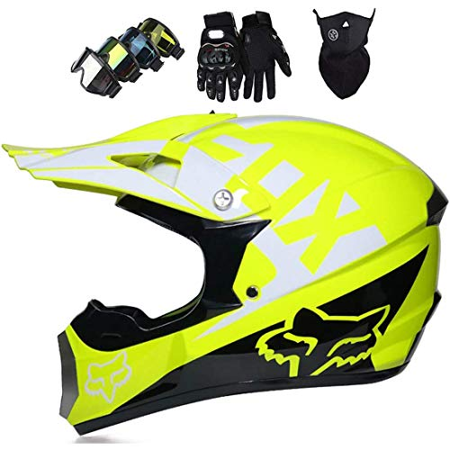 Casco de moto para niños, Casco MTB de rostro completo unisex con máscara, guantes y gafas, Casco de moto todoterreno de motocross Dirt Bike para moto de descenso en quad con diseño Fox