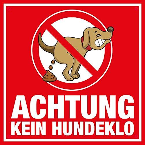 Clever-Kauf-24 Alu Schild | Achtung Kein Hundeklo | Hinweisschild rot witzig Comic Stil | BxH 20x20 cm