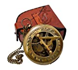Sundial Compass, Antique Steampunk Brass Sundial Compass, Sundial Watch with Leather case Sundial