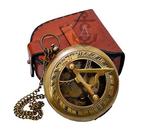 A S Kunsthandwerk Antik Steampunk brass-wrist-watch-sundial-compass Sonnenuhr Armbanduhr mit Zitat mit Lederband Sonnenuhr