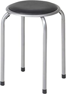 不二貿易 パイプ椅子 高さ45cm ブラック スタッキング可能 合皮 88623