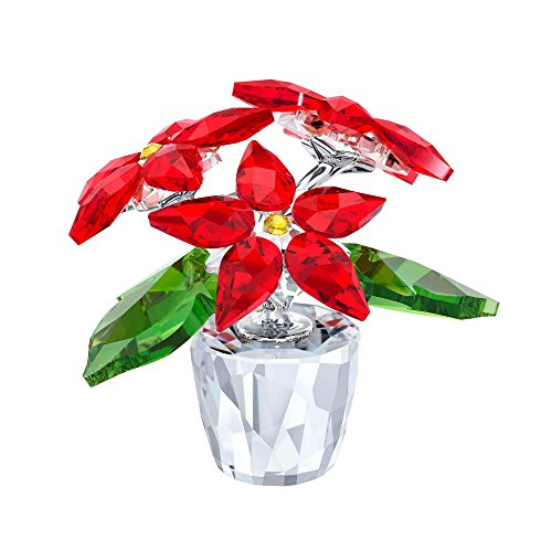 Swarovski Crystal Poinsettia, Small, Clear,Red and Green
