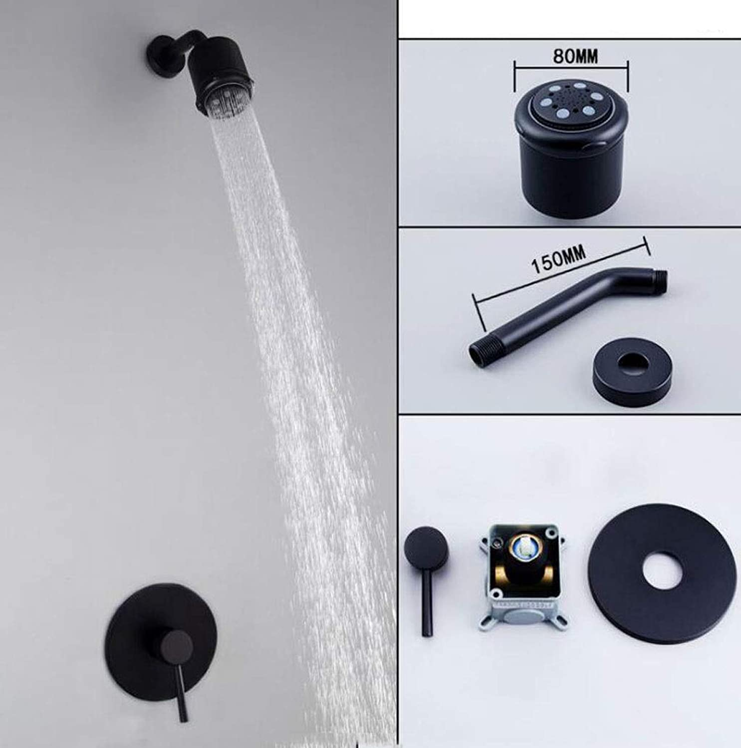 CHENGXINGF Bathroom shower accessories Concealed shower set Hotel in-wall shower Black sprinkler