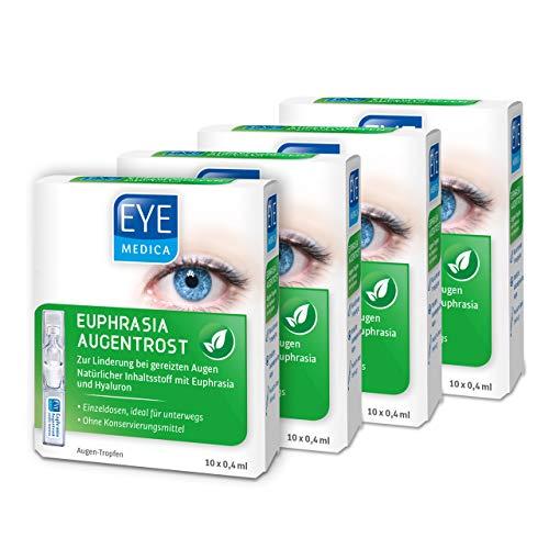 EyeMedica Euphrasia Augentrost, Euphrasia Augentropfen mit Hyaluron, zur Linderung bei gereizten Augen, für alle Kontaktlinsen geeignet, ohne Konservierungsstoffe, 4 x 10 x 0,4 ml Augen-Tropfen