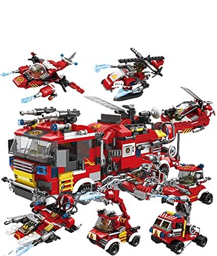 Pidepcos Lego 806 piezas lucha contra incendios 8 en 1 camiones coche helicóptero barco bloques de construcción Ciudad Firefight Figures Toy Fire Vehicle Building Block Set