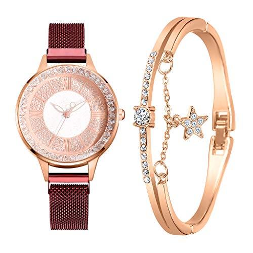 Fenverk Damen Armbanduhr Sailor Line Modest mit Meshband,Geschenk für Frauen Perfect Match - Frauen Geschenk Box Set, Freundin, Mama oder Schwester(F#03)