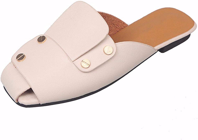 JFBZS-sandals Slippers Women's New Spliced Baotou Flat-Soled Slippers Outside Slippers Slippers