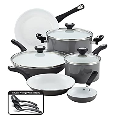 Farberware PURECOOK Ceramic Nonstick Cookware 12-Piece Cookware Set, Gray