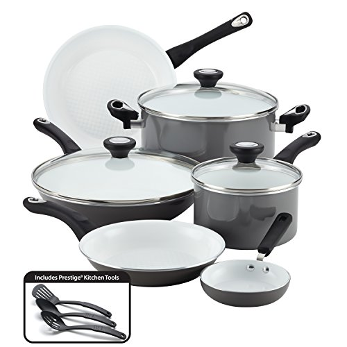 Farberware 17498 Ceramic Nonstick Cookware Pots and Pans Set, 12 Piece, Gray