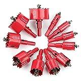 Sierra de corona bimetálica de 15 mm, color rojo, M42 HSS para metal, para madera, aluminio, chapa de hierro y plástico