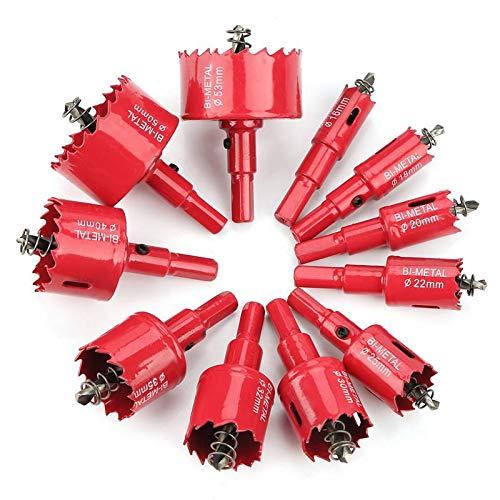 Sierra de corona bimetálica de 53 mm, color rojo, M64 HSS para metal, para madera, aluminio, chapa de hierro y plástico