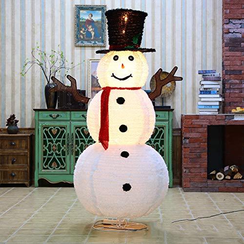 YANXS Schneemann Figur Weihnachtsmann LED Santa Beleuchtet Warm Weiß Metall Eisen Rahmen Flanell Weihnachten Deko für Innen Außen,05