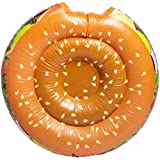 Hamburger Pool Float 39in Round! Hamburger Shaped Inflatable Pool Lounger! Summer Inflatable Floaties for Kids, Teens and Adults! Choose Your Cool Pool Floats! (Hamburger)