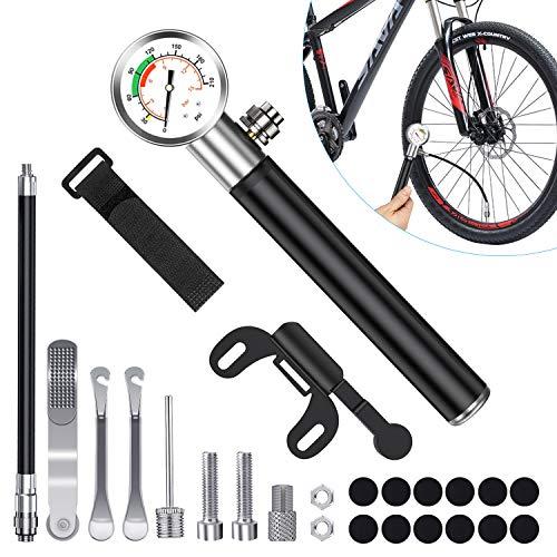Tendak Pompa per Bicicletta, Mini Pompa per Bicicletta, Pompa dell'Aria da 210 PSI con manometro, Dotato di Kit Riparazione gomme Bici, Adatto per Biciclette, Mountain Bike, Basket, Anelli da Nuoto
