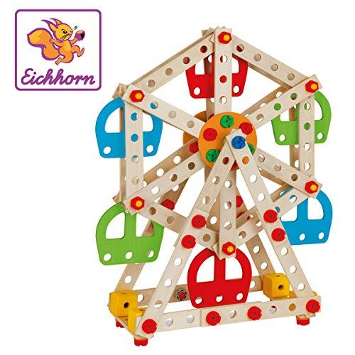 Eichhorn 100039099 Constructor Riesenrad - vielseitiges Holzspielzeug, 240 Bauteile, 3 verschiedene Konstruktionen, FSC 100{73c7c50b430585e5f164998b12a1c95d2dee1479814d6ef812f0f3e6a925702c} zertifiziertes Buchenholz, für Kinder ab 6 Jahren