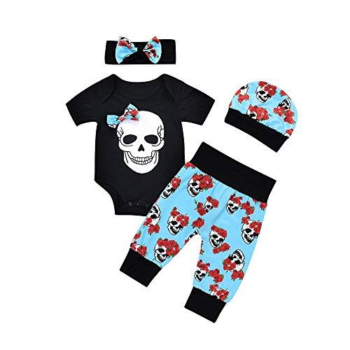WEXCV Kleinkind Baby Mädchen Junge Halloween Kleidung Langarm Totenkopf Drucken Spielanzug Strampler + Nähte Hosen + Hut + Haarband Halloween-Kostüm 4 StüCk Outfits 0-18 Monate