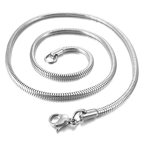 Catenina Uomo - TOOGOO(R)4.0mm Larghezza Acciaio Inossidabile Collana Snake Serpente Catena Catenina Collegamento Argento Biker 17 Pollici Uomo