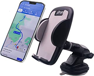 PTron Mount ST4F Adjustable Car Mount Phone Holder for Dashboard & Windshield, 360° Rotating Clamp, Telescopic Extendable ...