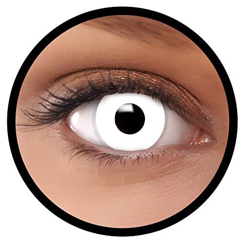 Farbige Kontaktlinsen weiß Zombie | Ideal für Halloween, Karneval, Fasching oder Fastnacht | Inklusive Behälter von FXEYEZ | Ohne Stärke als 2er Pack