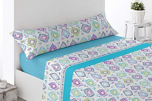 Juego de sábanas Estampadas de Microfibra Transpirable Mod. Sosbar (Disponible en Varios tamaños y Colores) (Turquesa, Cama de 135 cm (135_x_190/200 cm))