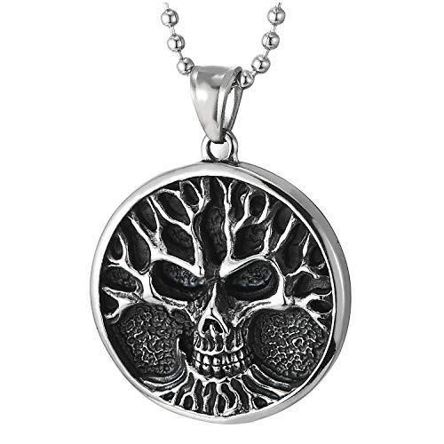 COOLSTEELANDBEYOND Cráneo Medalla Círculo árbo Pendiente, Collar con Colgante de Mujer, Acero Inoxidable, Bola Cadena 75CM