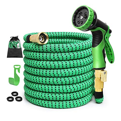 isGarden 75 ft Expandable Garden Hose: Water Hose with 9 Function Spray Nozzle and Durable 3-Layers Latex, Flexible Water Hose with Solid Brass Fittings, Best Choice for Watering and Washing (Renewed)