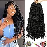 Nu Faux Locs Crochet Hair 7 Packs Goddess Faux Locs Crochet Braids 18 Inch Nu Soft Locs Braiding Hair Pre-Looped Crochet Locs African Roots Synthetic Hair Extensions (18 Inch, 1B#)