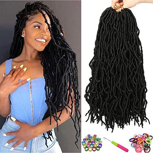 Nu Faux Locs Crochet Hair 7 Packs Goddess Locs Crochet Braids 18 Inch Nu Soft Locs Braiding Hair Pre-Looped Crochet Locs African Roots Synthetic Hair Extensions (18 Inch, 1B#)