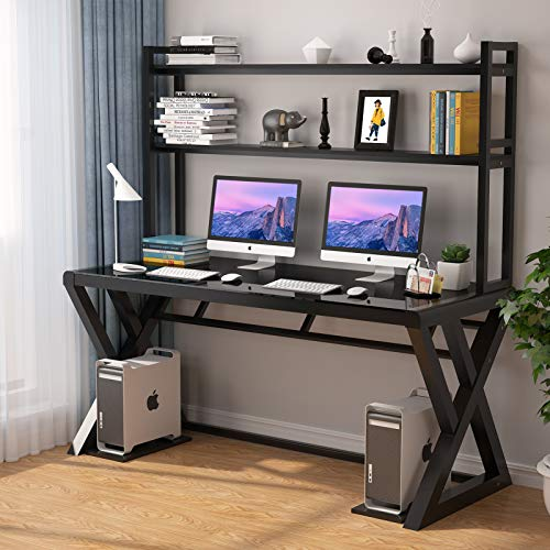 OBBOLLY Computer Desk with Shelves - Writing Desk with 2-Tier Storage Shelves and Glass Tabletop, Study Working Desk with Bookshelf, PC Laptop Table Workstation for Home Office Desk (55 inch, Black)