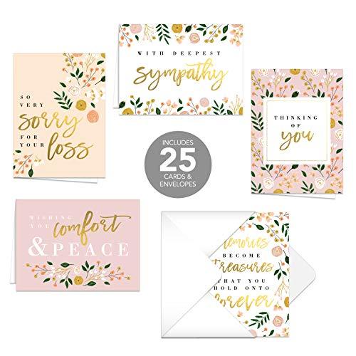 Trauerkarten mit modernem Blumenmuster, 25 Trauerkarten / 5 Designs mit passenden Innenversen
