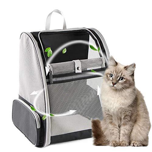 Mochila plegable para gatos, para perros pequeños, gatos, malla suave para viajes al aire libre, alfombra de forro polar extraíble, con hebilla de cuello integrada